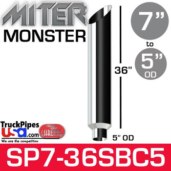 "7"" x 36"" Miter Cut Chrome Monster Stack Reduced to 5"" OD"