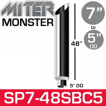 """7"""" x 48"""" Miter Cut Chrome Monster Stack Reduced to 5"""" OD"""
