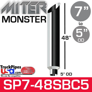 "7"" x 48"" Miter Cut Chrome Monster Stack Reduced to 5"" OD"