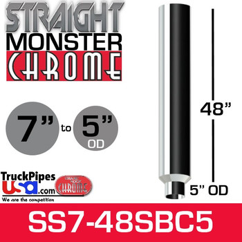 "7"" x 48"" Straight Chrome Monster Stack Reduced to 5"" OD Bottom"
