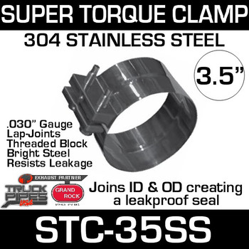 "3.5"" Super Torque Exhaust Clamp 304 Stainless Steel STC-35SS"