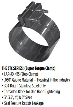 "STC-4SS 4"" Super Torque Exhaust Clamp 304 Stainless Steel STC-4SS"