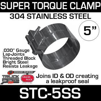 "5"" Super Torque Exhaust Clamp 304 Stainless Steel STC-5SS"