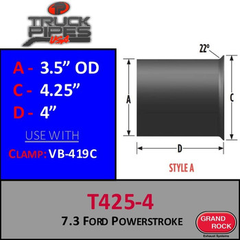"T425-5 Turbo 3.5"" 7.3 Power stroke Flange Style A"