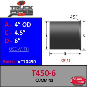 """T450-6 Turbo 4"""" x 6"""" Cummins Flange Style A"""