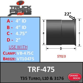 """TRF-475 Turbo 4"""" ID - T35, L10, 3176 Repair Flange Style D"""