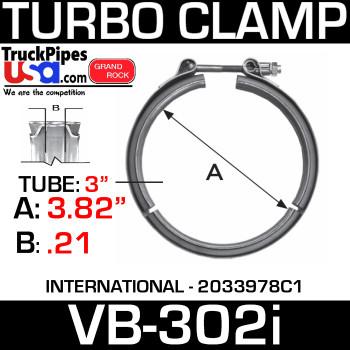 """3.82"""" V-Band Turbo Clamp for International 2033978C1 VB-302i"""