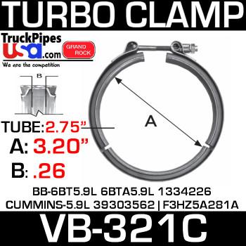 "2.80"" V-Band Turbo Clamp 94-98 BB TC2000 BUS W/5.9L VB-321C"