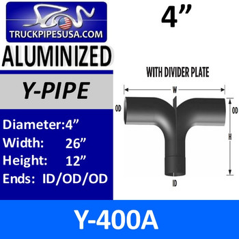 "4"" Y-Pipe Aluminized With Plate Exhaust Pipe 12"" x 26"" Y-400A"