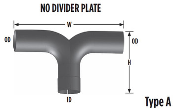 "Y-501NPA 5"" Y-Pipe Aluminized Exhaust No Plate 16'' x 11'' Y-501NPA"