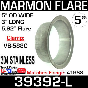 "5"" Marmon Exhaust with 5.62"" Flare 304 Stainless Steel 39392-L"