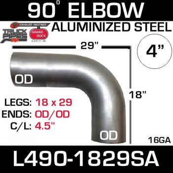 "4"" Elbow 90 Degree 18"" x 29"" OD-OD Aluminized L490-1829SA"