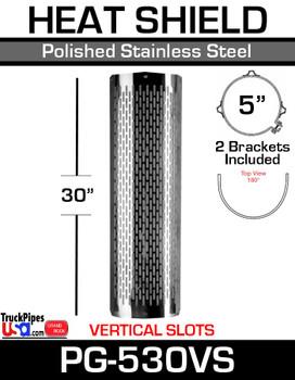"PG-530VS 5"" x 30 Heat Shield Vertical Slot Polished SS with Brackets PG-530VS"