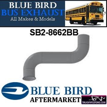 "SB2-8662BB 2.75"" 2 Bend Bluebird Bus Exhaust ID Flare Aluminized"