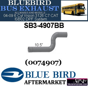 "SB3-4907BB 4"" 2 Bend Bluebird Bus Exhaust ID-OD ALZ"