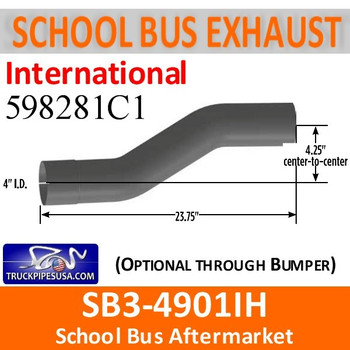 "SB3-4901IH 598281C1 International 9300 Offset School Bus Exhaust Pipe 4"" ALZ"