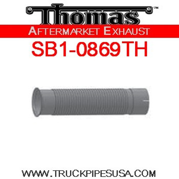 "SB1-0869TH Thomas Bus Emission Pipe 4"" X 12"" Stainless"