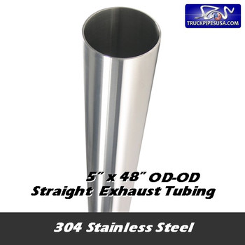"10-548 SS 304 Stainless Exhaust Stack 5"" x 48"" Straight Cut OD End 10-548 SS"