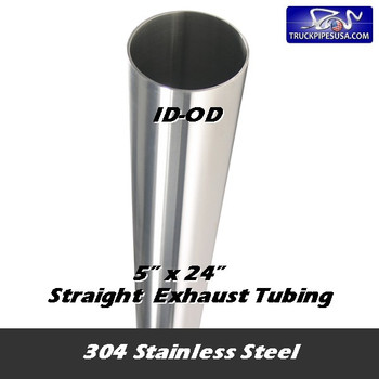 "11-524 SS 304 Stainless Exhaust Stack 5"" x 24"" Straight Cut ID End 11-524 SS"