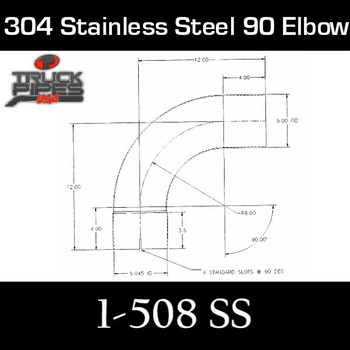 "5"" 90 Degree Elbow 14.5"" x 14.5"" ID-OD 304 Stainless Steel 1-508 SS"