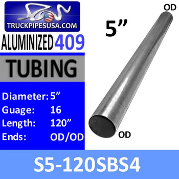 "S5-120SBS4 5"" x 120"" Straight Cut 409 Stainless Steel 16 Gauge"