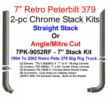 "7"" Peterbilt Retro 379 Chrome Stack Kit - 7PK-9052RF"