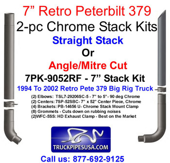 "7PK-9052RF 7"" Peterbilt Retro 379 Chrome Stack Kit - 7PK-9052RF"