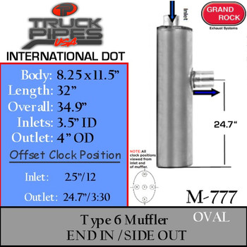 "M-777 Type 6 Oval Muffler 8.25"" x 11.5"" x 32"" Long 3.5"" IN - 4"" OD OUT"
