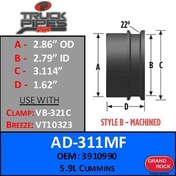 """AD-311MF 2.86"""" OD 5.9L Cummins Machined Turbo - Style B"""