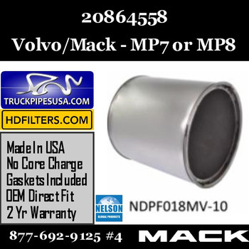 20864558-NDPF018MV-10 20864558 Volvo Mack DPF for MP7 or MP8 Engine
