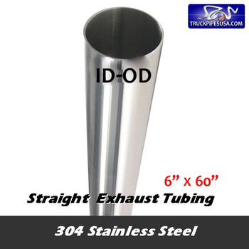 """11-660 SS 6""""ID x 60"""" 304 Stainless Steel Straight Cut Exhaust Stack 11-660 SS"""
