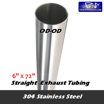 """10-672 SS 6""""OD  x 72"""" 304 Stainless Steel Straight Cut Exhaust Stack 10-672 SS"""