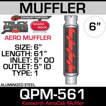 """QPM-561AERO- Aero Cab Kenworth Muffler 5"""" x 51"""""""