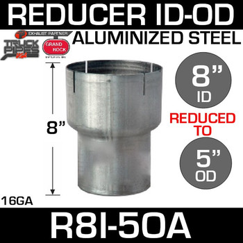 """8"""" ID to 5"""" OD Exhaust Reducer Aluminized Pipe R8I-5OA"""