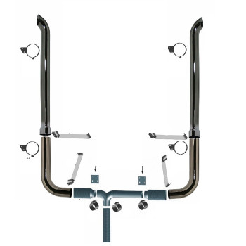 """7"""" Peterbilt Retro 379 Chrome Stack Kit  with 84"""" Curved Stack and Brackets"""