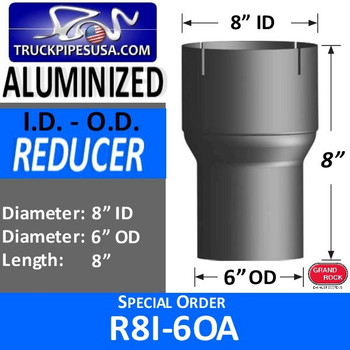 "R8I-6OA 8"" ID to 6"" OD Exhaust Reducer Aluminized Pipe R8I-6OA - SPECIAL ORDER"
