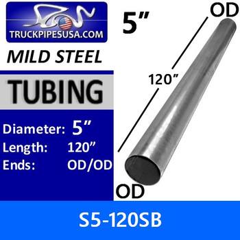 "s5-120sb 5"" x 120"" Straight Mild Steel Exhaust Tubing OD-OD S5-120SB or 10-50"
