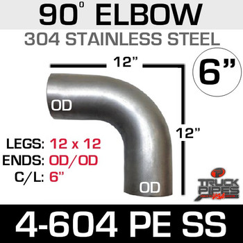 "6"" 90 Degree Elbow 12.5"" x 12.5"" OD-OD 304 Stainless Steel 4-604PE SS"