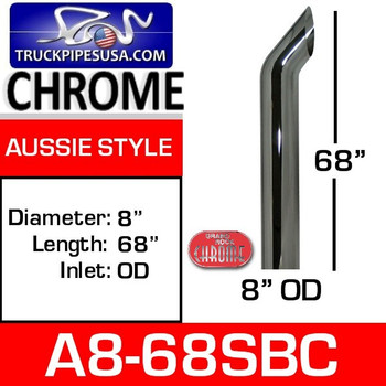"""8"""" x 68"""" Aussie Chrome Exhaust Stack Pipe A8-68SBC"""