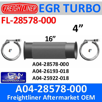 "FL-28578-000-A04-26193-018 A04-26193-018 4"" Bellows Flex Pipe Freightliner with Clamps"