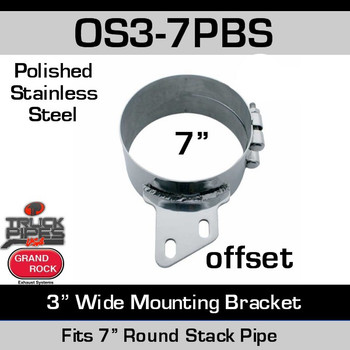 "OS3-7PBS 7"" Offset 3"" Wide Stack Mount Bracket Polished SS OS3-7PBS"