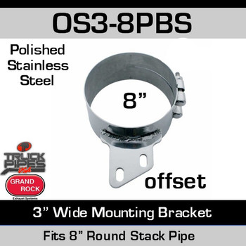 "OS3-8PBS 8"" Offset 3"" Wide Stack Mount Bracket Polished SS OS3-8PBS"