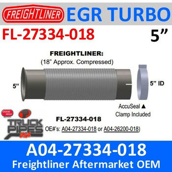EBK-27334-018 or A04-27334-018 Freightliner Bellows Flex Pipe