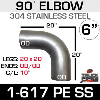 "6"" 90 Degree Elbow 20"" x 20"" OD-OD 304 Stainless Steel 1-617PE SS"