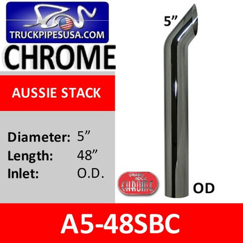 "A5-48SBC 5"" x 48"" OD Aussie Style Chrome Exhaust Stack"