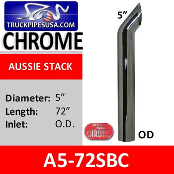"""A5-72SBC 5"""" x 72"""" OD Aussie Style Chrome Exhaust Stack"""