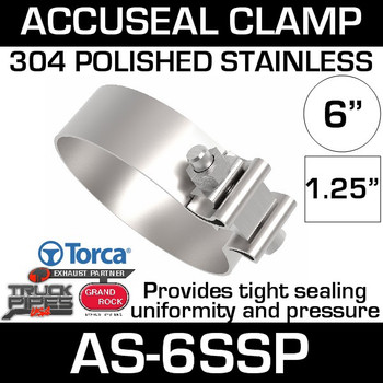 "6"" Polished Stainless AccuSeal Band Exhaust Clamp AS-6SSP"