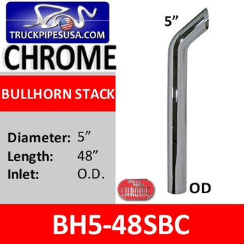 "BH5-48SBC 5"" x 48"" Bullhorn With OD Bottom in Chrome"
