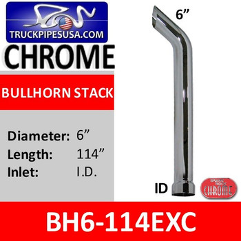 "BH6-114EXC | 6"" x 114"" Bullhorn Stack With ID Bottom in Chrome"