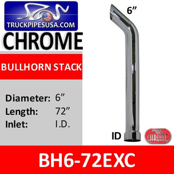 "6"" x 72"" Bullhorn Stack With ID Bottom in Chrome BH6-72EXC"